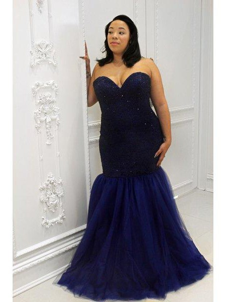 Trumpet/Mermaid Sweetheart Sequin Floor-Length Tulle Plus Size Dresses