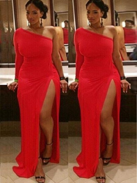 Sheath/Column One-Shoulder Sweep/Brush Train Spandex Plus Size Dresses with Ruched