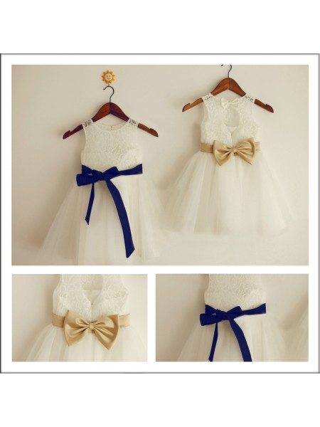 A-Line/Princess Scoop Bowknot Tea-length Flower Girl Dresses with Lace