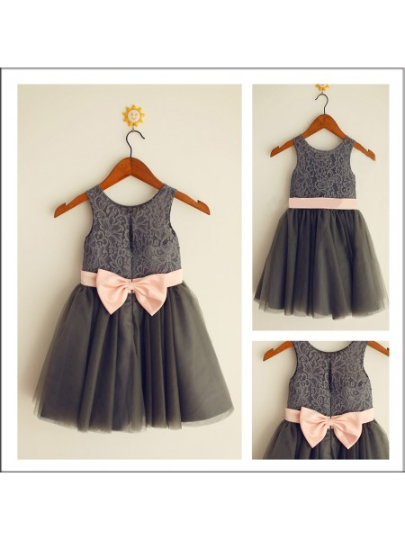 A-Line/Princess Scoop Bowknot Tea-length Tulle Flower Girl Dresses