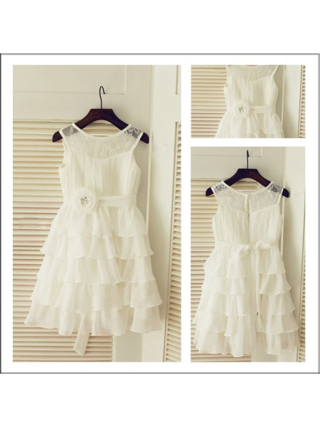A-Line/Princess Scoop Layers Tea-length Chiffon Flower Girl Dresses