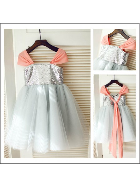 A-Line/Princess Straps Tea-length Tulle Flower Girl Dresses