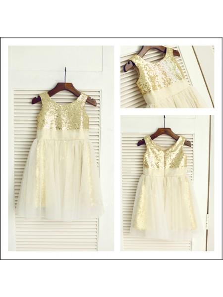 A-Line/Princess Scoop Tea-length Sequins Flower Girl Dresses