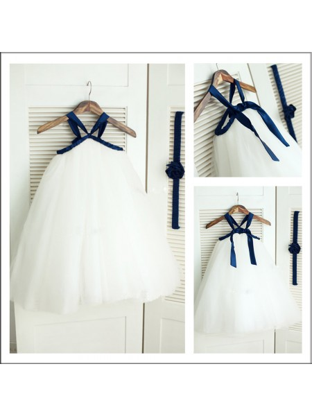 A-Line/Princess Spaghetti Straps Tea-length Tulle Flower Girl Dresses