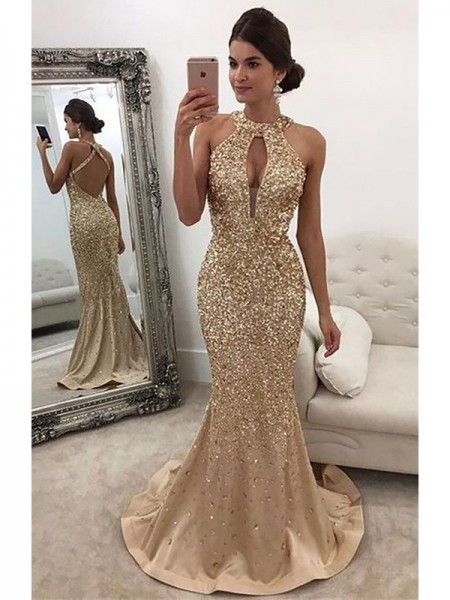 Trumpet/Mermaid Halter Sequin Sweep/Brush Train Satin Dresses