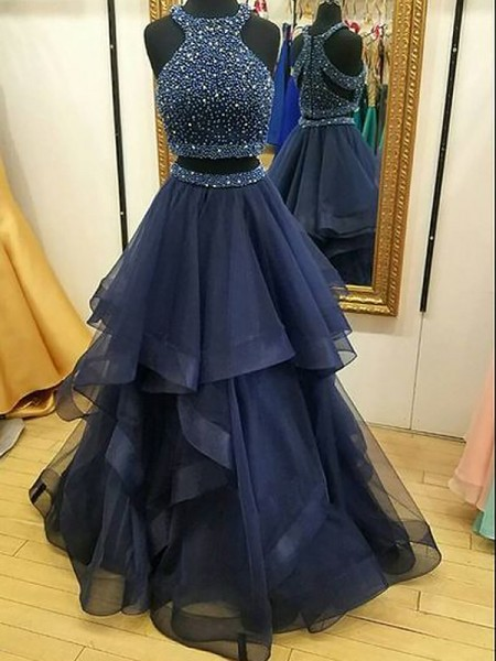 A-Line/Princess Halter Tulle Floor-Length Two Piece Dresses with Beading
