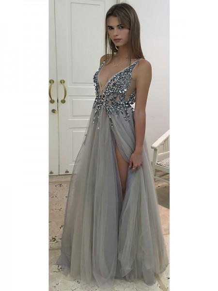 A-Line/Princess V-Neck Floor-Length Tulle Dresses with Beading