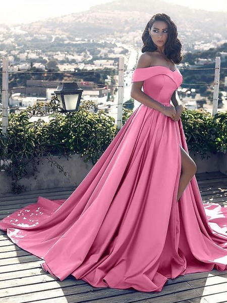 A-Line/Princess Off-the-Shoulder Satin Court Train Dresses with Ruffles