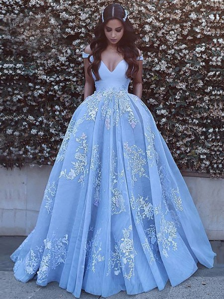 Ball Gown Off-the-Shoulder Tulle Sweep/Brush Train Dresses with Applique