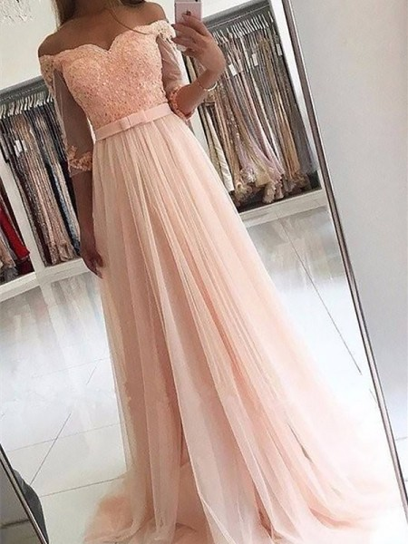 A-Line/Princess Off-the-Shoulder Tulle Sweep/Brush Train Dresses