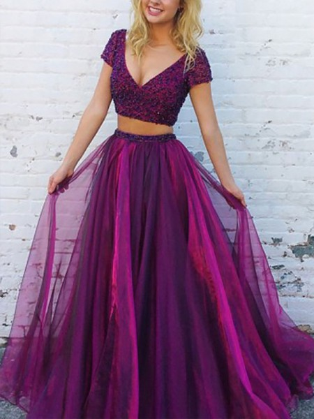 A-Line/Princess V-Neck Floor-Length Tulle Two Piece Dresses with Beading