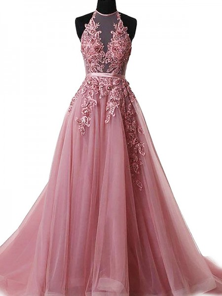 A-Line/Princess Halter Sweep/Brush Train Tulle Dresses with Applique
