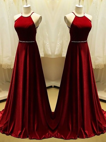 A-Line/Princess Halter Sweep/Brush Train Satin Dresses with Beading