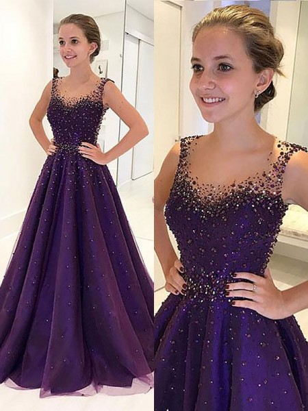 A-Line/Princess Scoop Floor-Length Tulle Dresses with Beading