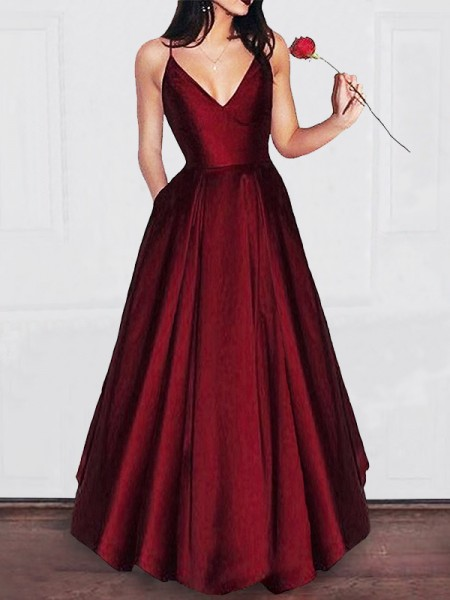 A-Line V-neck Floor-Length Satin Sleeveless Dresses With Ruffles