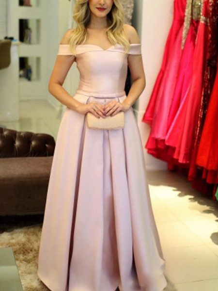 A-Line/Princess Off-the-Shoulder Floor-Length Satin Dresses with Ruffles