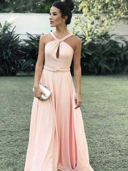 A-Line/Princess Halter Floor-Length Chiffon Dresses with Ruched