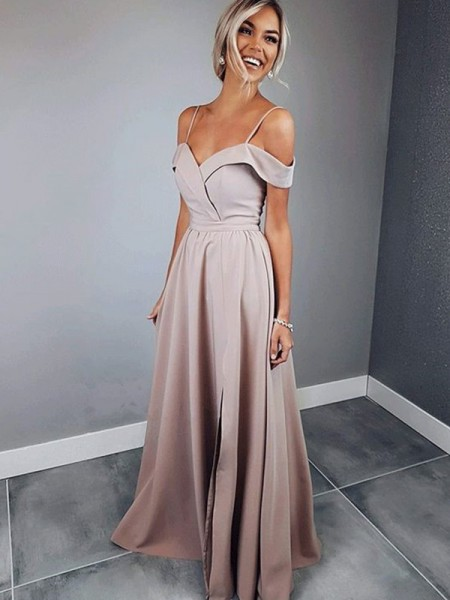 A-Line/Princess Spaghetti Straps Short Sleeves Floor-Length Satin Dresses with Ruched
