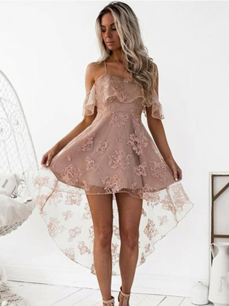 A-Line/Princess Off-the-Shoulder Satin Short/Mini Dresses with Lace