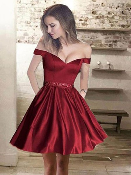 A-Line/Princess Off-the-Shoulder Satin Short/Mini Dresses with Beading