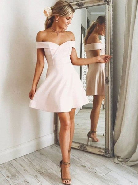 A-Line/Princess Off-the-Shoulder Satin Short/Mini Dresses