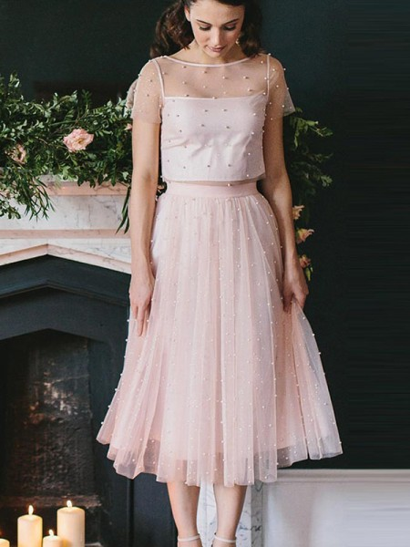 A-Line/Princess Tulle Scoop Tea-Length Two Piece Dresses