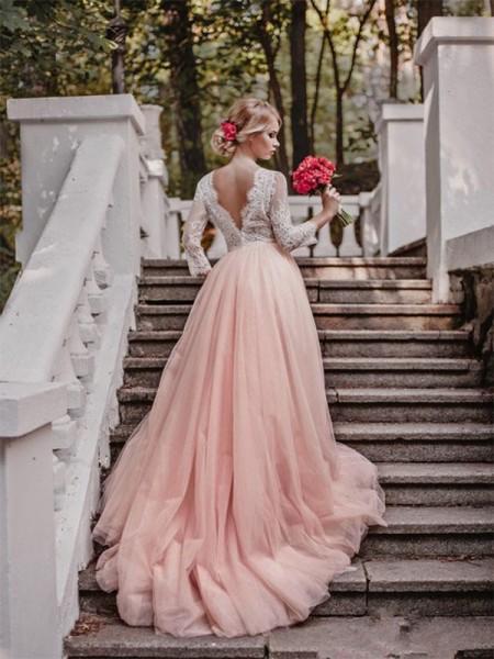 Ball Gown V-neck Court Train Tulle Wedding Dresses with Applique