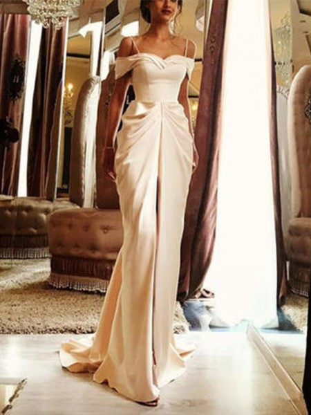 Sheath/Column Sweep/Brush Train Off-the-Shoulder Silk like Satin Wedding Dresses with Ruffles
