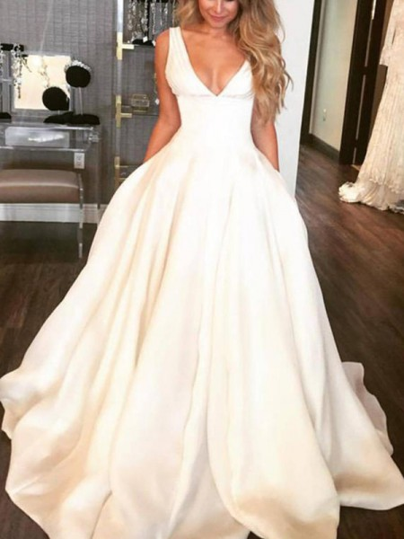 A-Line/Princess V-neck Sweep/Brush Train Satin Wedding Dresses with Ruffles