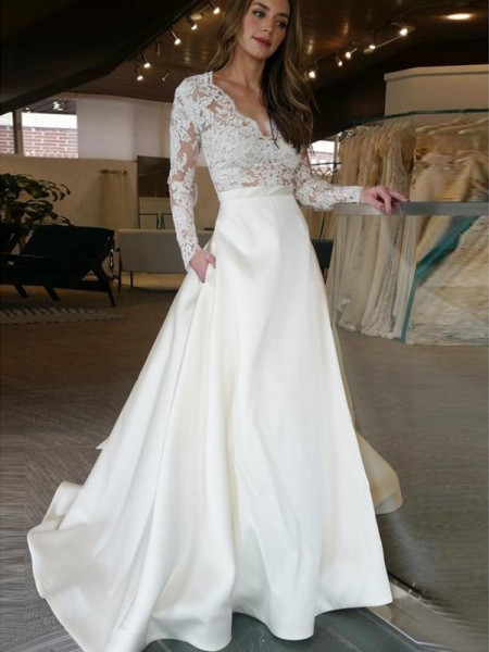 A-Line/Princess Sweep/Brush Train V-neck Satin Wedding Dresses with Applique
