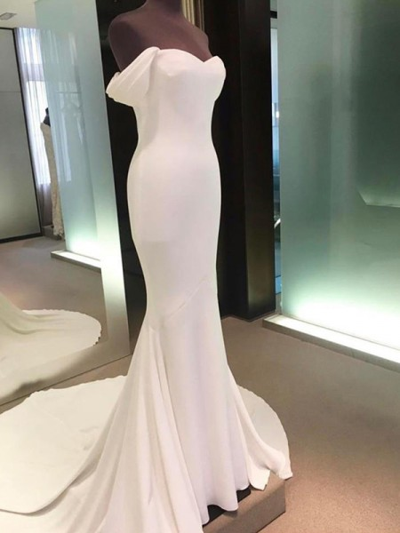 Sheath/Column Off-the-Shoulder Court Train Spandex Wedding Dresses