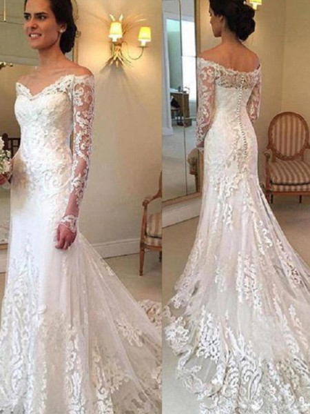Trumpet/Mermaid Off-the-Shoulder Court Train Lace Wedding Dresses with Applique