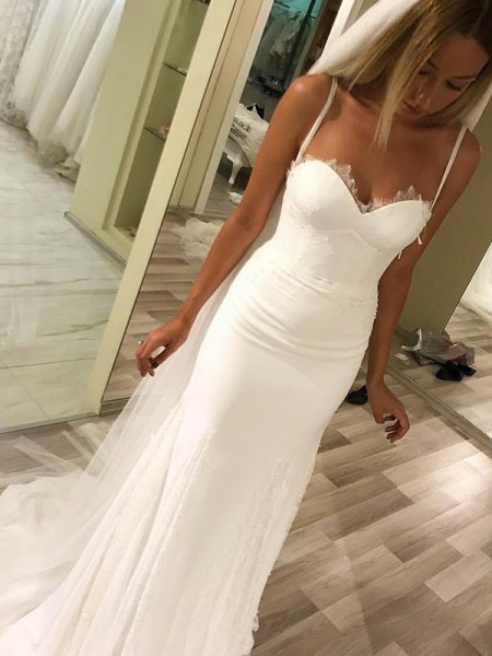 Sheath/Column Sweetheart Spaghetti Straps Sweep/Brush Train Satin Wedding Dresses