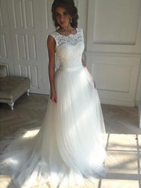 A-Line/Princess Square Court Train Tulle Wedding Dresses