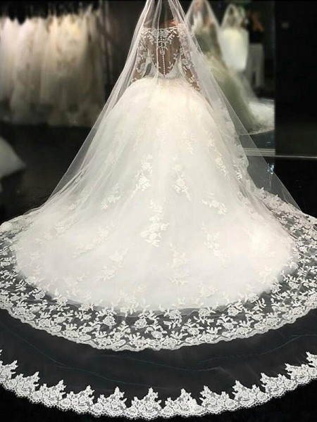 Ball Gown Scoop Cathedral Train Tulle Lace Wedding Dresses with Applique