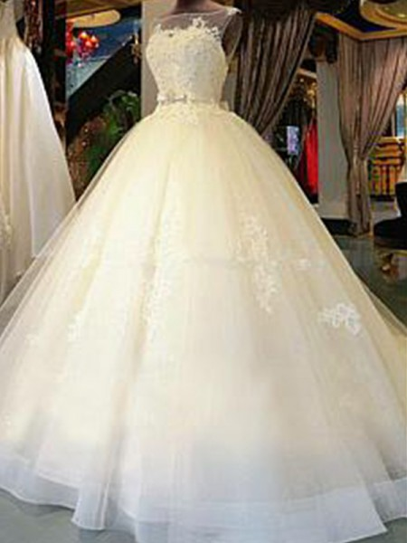 Ball Gown Scoop Cathedral Train Tulle Wedding Dresses