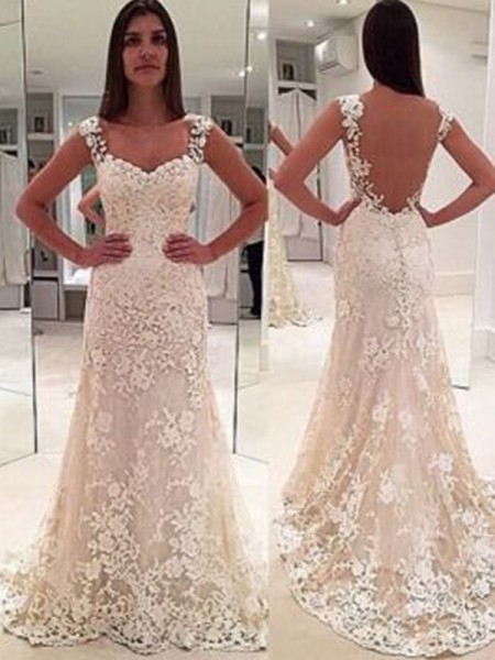Sheath/Column Straps Court Train Sweetheart Lace Wedding Dresses with Applique
