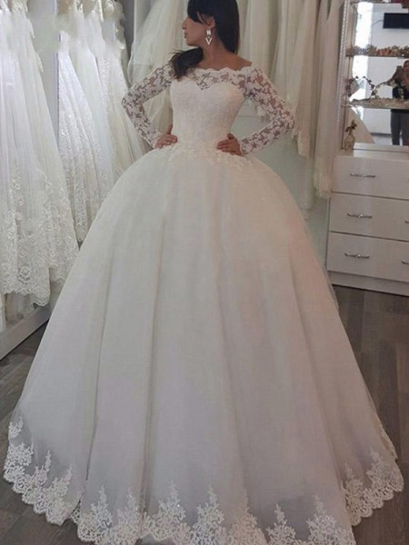 Ball Gown Off-the-Shoulder Sweep/Brush Train Lace Wedding Dresses with Applique