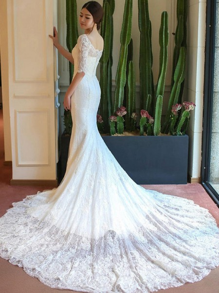 Trumpet/Mermaid Square Cathedral Train Lace Wedding Dresses with Applique