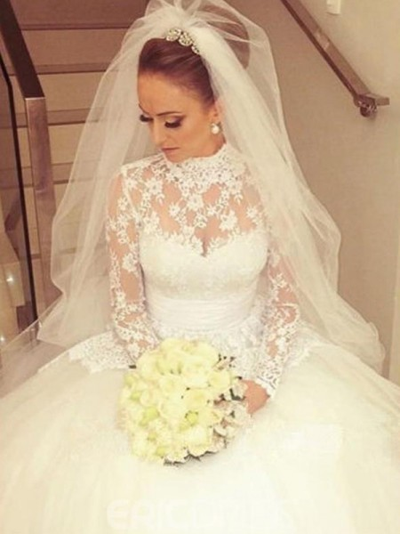 Ball Gown High Neck Sweep/Brush Train Wedding Dresses with Lace with Sash/Ribbon/Belt