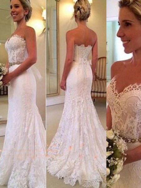 Trumpet/Mermaid Sweetheart Sweep/Brush Train Lace Wedding Dresses with Applique