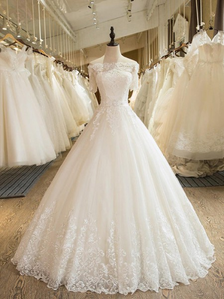 Ball Gown Off-the-Shoulder Floor-Length Tulle Lace Wedding Dresses with Applique