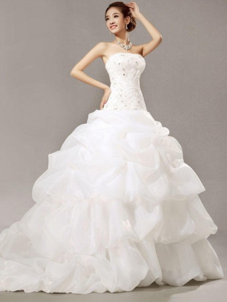 Ball Gown Strapless Cathedral Train Organza Lace Wedding Dresses