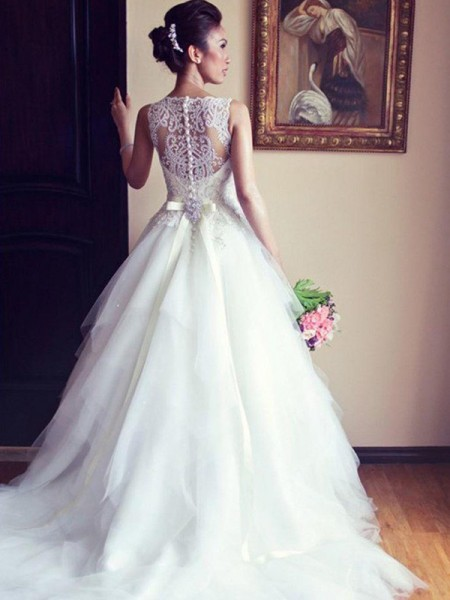 A-Line/Princess Scoop Chapel Train Tulle Wedding Dresses with Beading