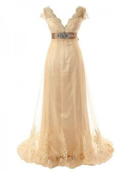 A-Line/Princess V-neck Sweep/Brush Train Tulle Lace Wedding Dresses with Beading