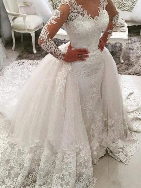 Ball Gown V-neck Cathedral Train Tulle Lace Wedding Dresses with Applique