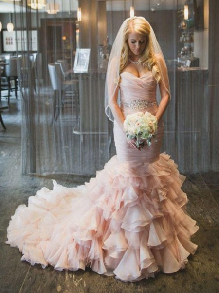 Trumpet/Mermaid Sweetheart Court Train Organza Wedding Dresses with Ruffles