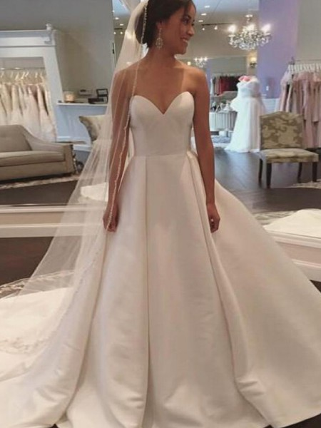 Ball Gown Sweetheart Court Train Satin Wedding Dresses