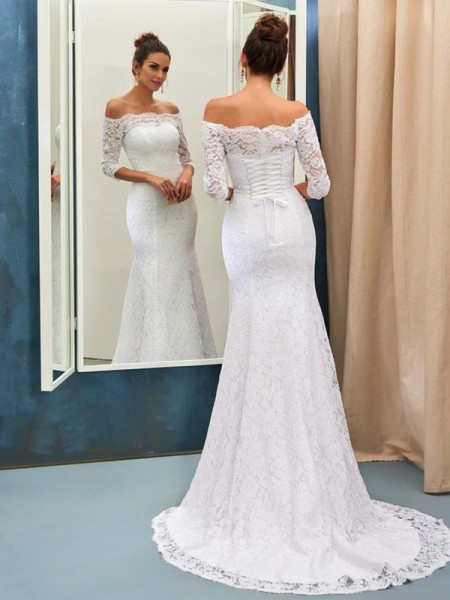 Trumpet/Mermaid Off-the-Shoulder Sweep/Brush Train Wedding Dresses with Lace