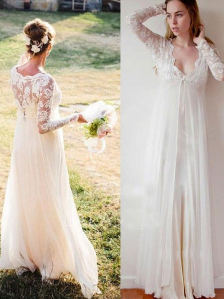 Empire V-neck Chiffon Floor-Length Wedding Dresses with Lace